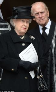 queen & duke at thatcher's funeral