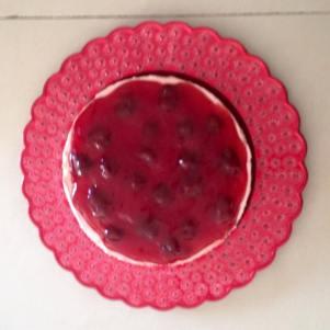 Eggless Strawberry Cheesecake